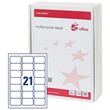 Image of 5 Star Multipurpose Laser Labels / 21 per Sheet / 64x34mm / White / 10500 Labels