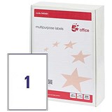 5 Star Multipurpose Laser Labels / 1 per Sheet / 200x288mm / White / 500 Labels