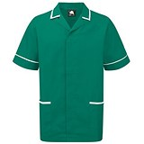 Image of 5 Star Mens Nursing Tunic / Concealed Zip / XL / Green & White