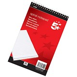5 Star Headbound Spiral Notepad / A5 / Ruled / 200 Pages / White