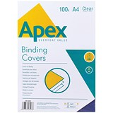 Image of Fellowes Apex Lightweight PVC Binding Covers / 140 micron / Clear / A4 / Pack of 100