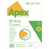 Image of Fellowes Apex Binding Covers / 230gsm / Leathergrain / Blue / A4 / Pack of 100