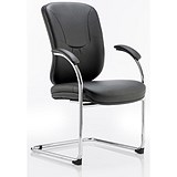 Image of Mirage Leather Visitor Chair - Black