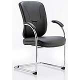 Image of Mirage Leather Visitor Chair / Black / Built