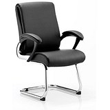Image of Romeo Leather Visitor Chair / Black / Built