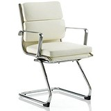 Image of Savoy Leather Visitor Chair / Ivory / Built