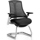 Flex Visitor Chair / White Frame / Black Seat / Black Back