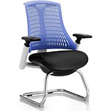 Flex Visitor Chair / White Frame / Black Seat / Blue Back / Built
