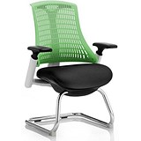 Image of Flex Visitor Chair / White Frame / Black Seat / Green Back / Built