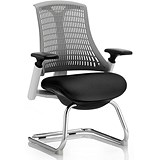 Image of Flex Visitor Chair / White Frame / Black Seat / Grey Back
