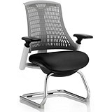 Image of Flex Visitor Chair / White Frame / Black Seat / Grey Back / Built