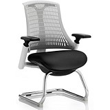 Image of Flex Visitor Chair / White Frame / Black Seat / Off-white Back / Built