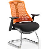 Flex Visitor Chair / Black Frame / Black Seat / Orange Back