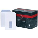 Image of Plus Fabric C5 Pocket Envelopes with Window / Press Seal / 110gsm / White / Pack of 500