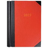 Collins 2019 Luxury Desk Diary / 2 Pages to a Day / A4 / Red