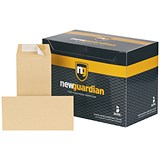 New Guardian Plain DL Pocket Envelopes / Manilla / Peel & Seal / 130gsm / Pack of 500