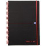 Image of Black n' Red Wirebound Polypropylene Notebook / A4 / Ruled / 140 Pages / Pack of 5