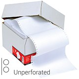 Image of Computer Listing Paper / 2 Part / 11 inch x 368mm / Unperforated / Plain White / Box (1000 Sheets)