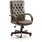 Image of Chesterfield Leather Executive Chair / Brown / Built