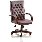 Image of Chesterfield Leather Executive Chair / Burgundy / Built