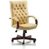 Chesterfield Leather Executive Chair / Cream / Built