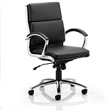 Image of Classic Medium Back Executive Leather Chair - Black