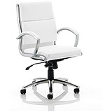Image of Classic Medium Back Executive Chair / Leather / White / Built