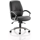 Image of Dune Medium Back Leather Executive Chair / Black / Built