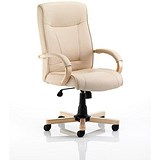 Image of Finsbury Leather Executive Chair / Cream / Built