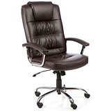 Image of Moore Leather Deluxe Executive Chair / Brown / Built