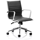 Image of Ritz Leather Medium Back Executive Chair - Black