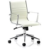 Ritz Leather Medium Back Executive Chair / Ivory / Built