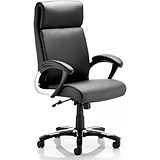 Image of Romeo Leather Executive Folding Chair / Black / Built