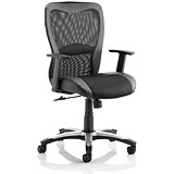 Image of Victor Leather & Mesh Executive Chair / Black / Built