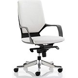 Image of Xenon Leather Medium Back Executive Chair / White / Built