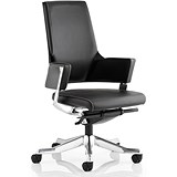 Image of Enterprise Leather Executive Medium Back Chair - Black