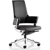 Image of Enterprise Leather Executive Medium Back Chair / Black / Built