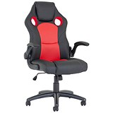 Enzo Racing Red and Black Leather Chair