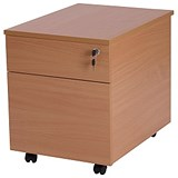 Image of Retro 2-Drawer Mobile Pedestal - Beech