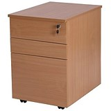 Image of Retro 3-Drawer Tall Mobile Pedestal - Beech