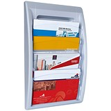 Fast Paper Wall-Mounted Literature Holder / 4 x A4+ Pockets / Silver