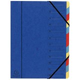 Europa A4 Elasticated Organiser Files / 12-Part / Blue