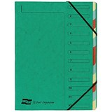 Europa A4 Elasticated Organiser Files / 12-Part / Green