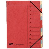 Europa A4 Elasticated Organiser Files / 12-Part / Red