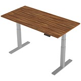 Image of Air Height Adjustable Desk / 1600mm / Silver Legs / Walnut