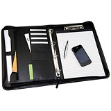 Image of Monolith 4 O-Ring Conference Binder with Pad Clip / 260x360mm / Leather-Look / Black