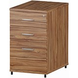 Image of Impulse 3-Drawer Desk High Pedestal / 600mm Deep / Walnut