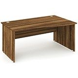 Image of Impulse Panel End Wave Desk / Right Hand / 1400mm Wide / Walnut / Installed