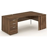 Impulse Panel End Corner Desk with 800mm Pedestal / Right Hand / 1800mm Wide / Walnut