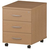 Image of Impulse 3-Drawer Mobile Pedestal - Oak